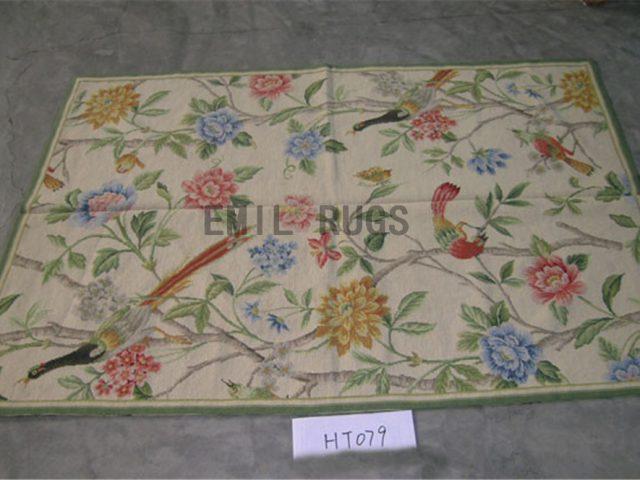 needlepoint carpet 3' X 10' Ivory Field Ivory Border hand stitched