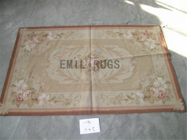 needlepoint carpet 4.5' X 4.9' Ivory Field Ivory Border authentic
