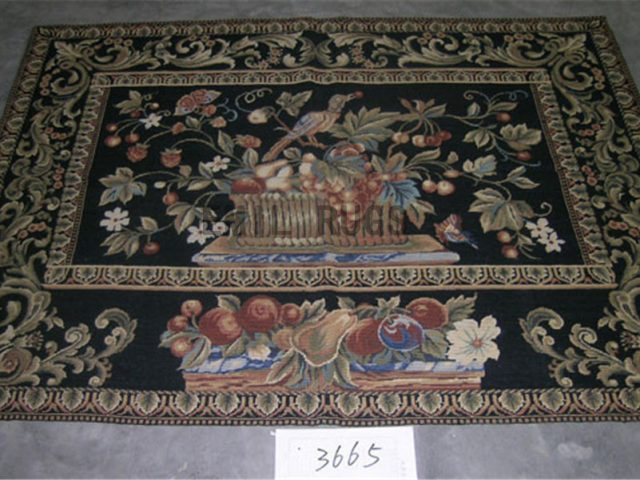 needlepoint carpet 4' X 5.8' Black Field Black Border authentic
