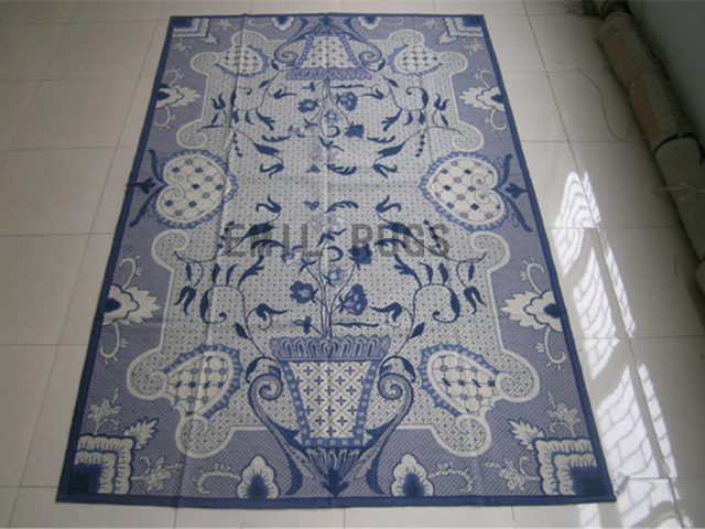 needlepoint rug 5.5' X 8.5' Blue Field Blue Border authentic