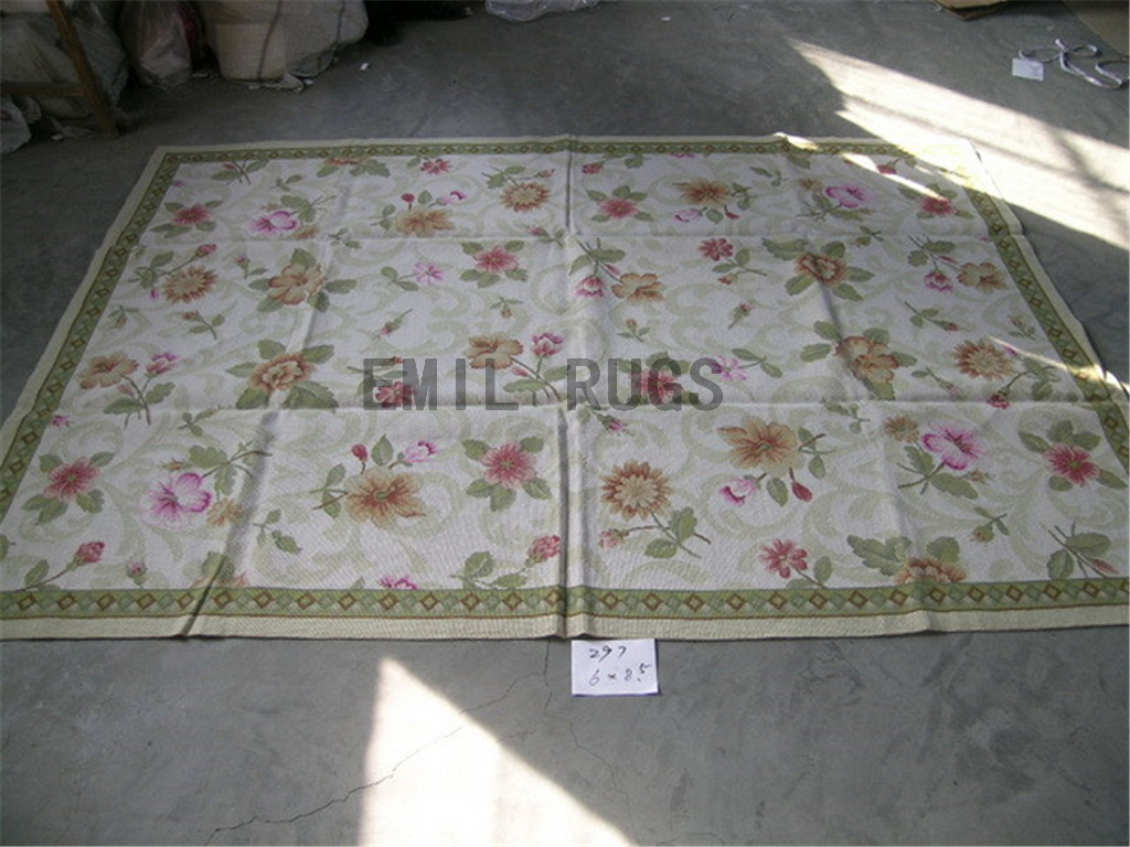 needlepoint rugs 5.9' X 8.45' Ivory Field Green Border hand stitched