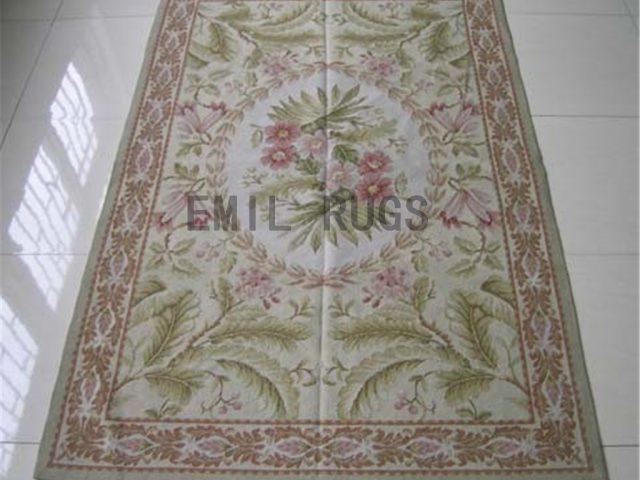 needlepoint rug 5.9' X 8.45' Ivory Field Ivory Border handmade