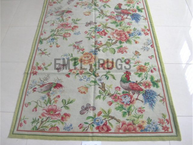 needlepoint carpets Square 5' X 5' Ivory Field Ivory Border handmade
