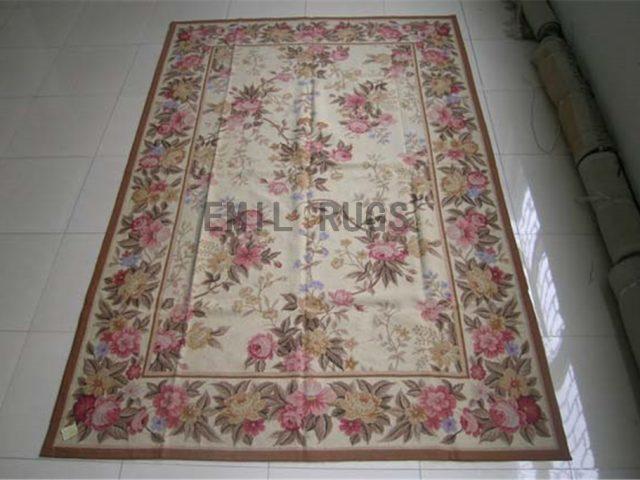 needlepoint rugs 5' X 8' Ivory Field Ivory Border handmade