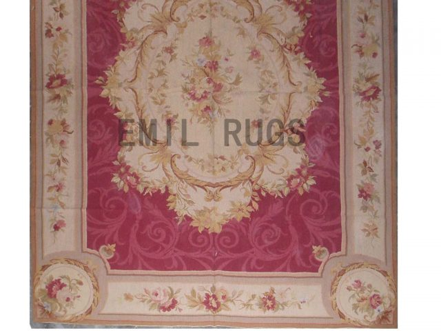 needlepoint rug 5' X 9' Red Field Ivory Border authentic