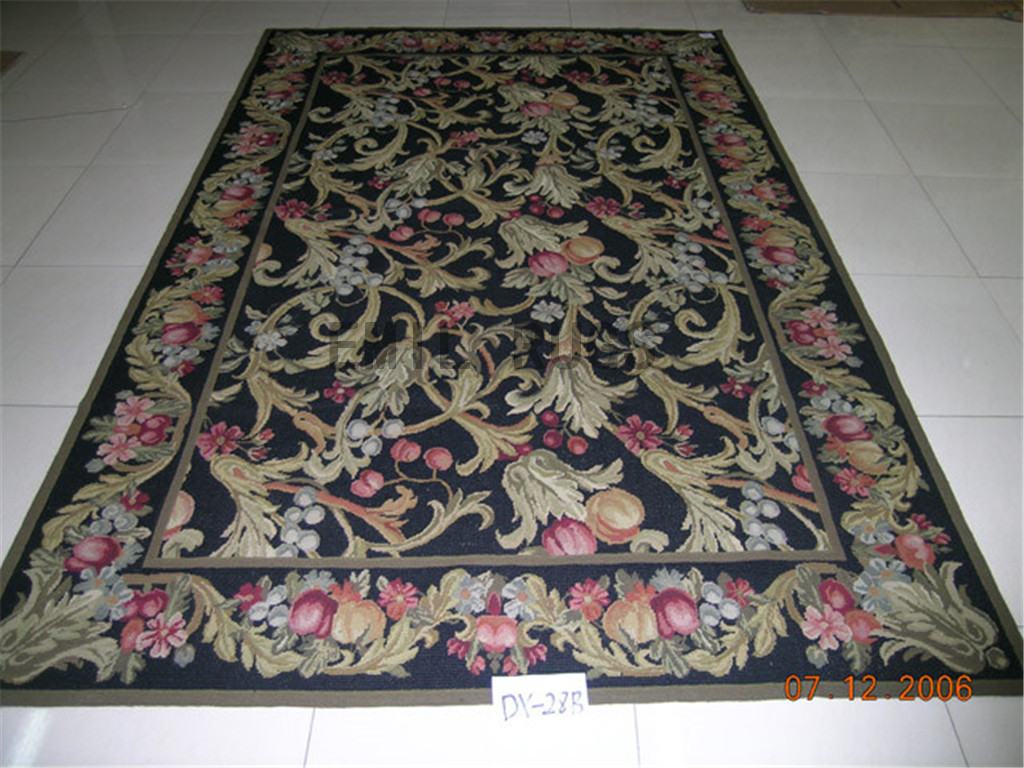 needlepoint rugs 6' X 9' Black Field Black Border authentic