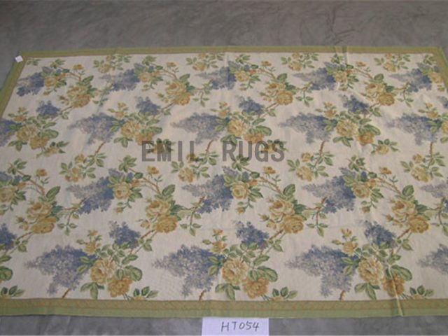 needlepoint carpets 6' X 9' Ivory Field Green Border authentic