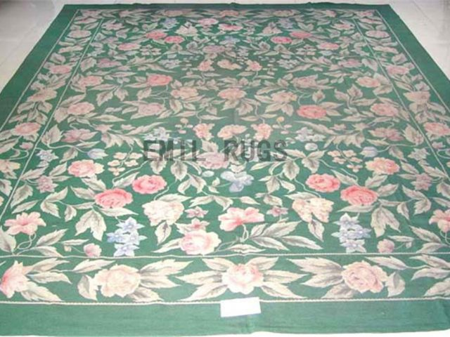 needlepoint rug 8.5' X 11' Green Field Green Border authentic