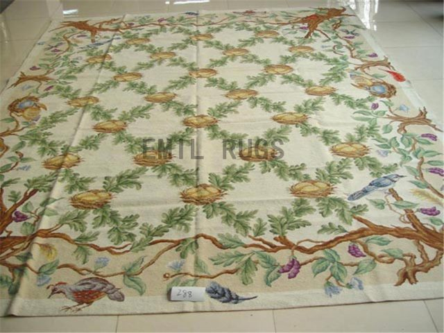 needlepoint carpets 8.7' X 11.5' Ivory Field Ivory Border authentic
