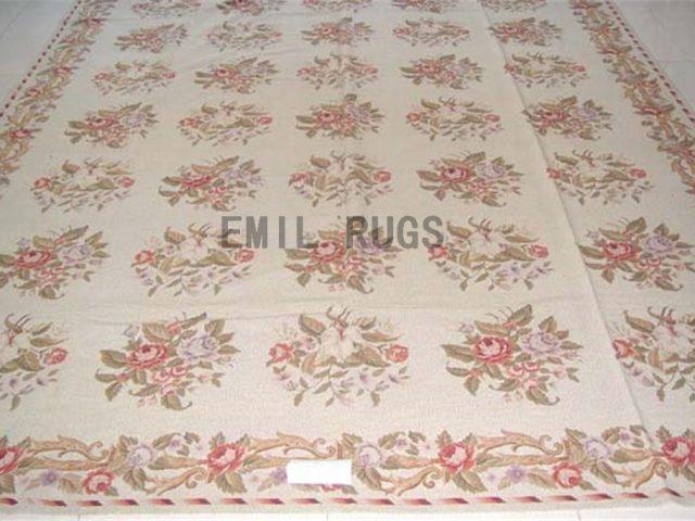 needlepoint rug 8.7' X 11.5' Ivory Field Ivory Border authentic