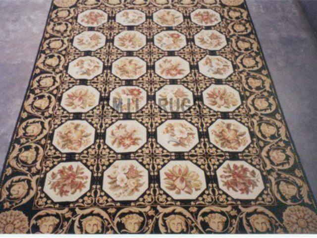 needlepoint carpet 8' X 9.5' Black Field Black Border handmade