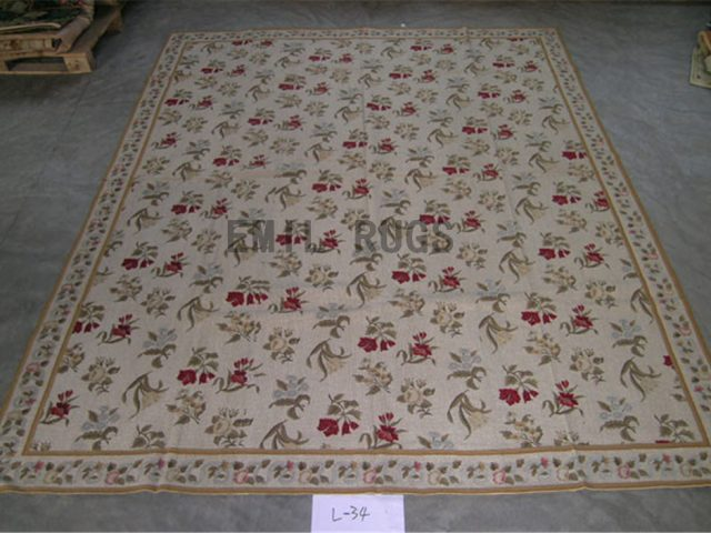 needlepoint rugs 8' X 9.8' Ivory Field Ivory Border hand stitched