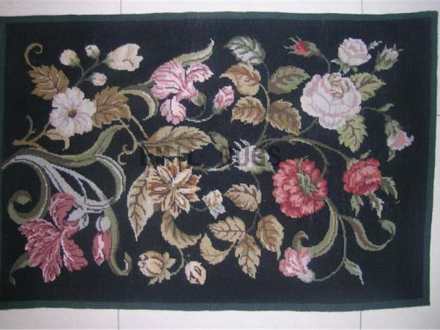 needlepoint rug Small Size 2' X 3' Black Field Black Border authentic