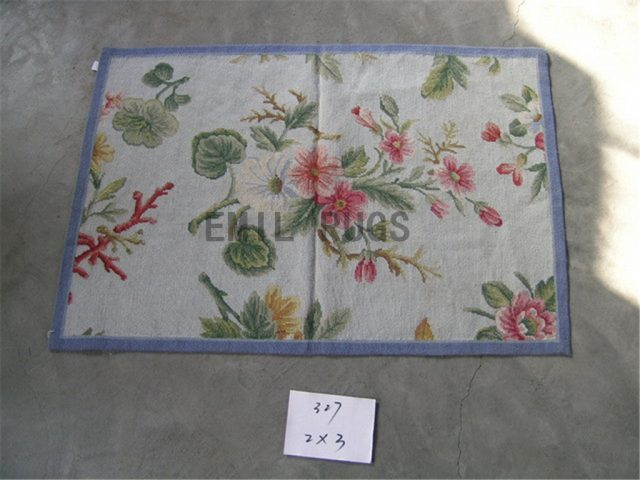 needlepoint carpets Small Size 2' X 3' Ivory Field Blue Border handmade