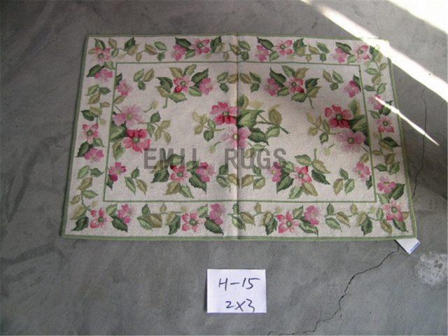needlepoint rugs Small Size 2' X 3' Ivory Field Ivory Border handmade