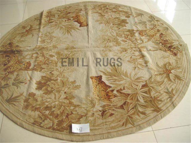 needlepoint rugs Round 6' X 6' Ivory Field Green Border handmade