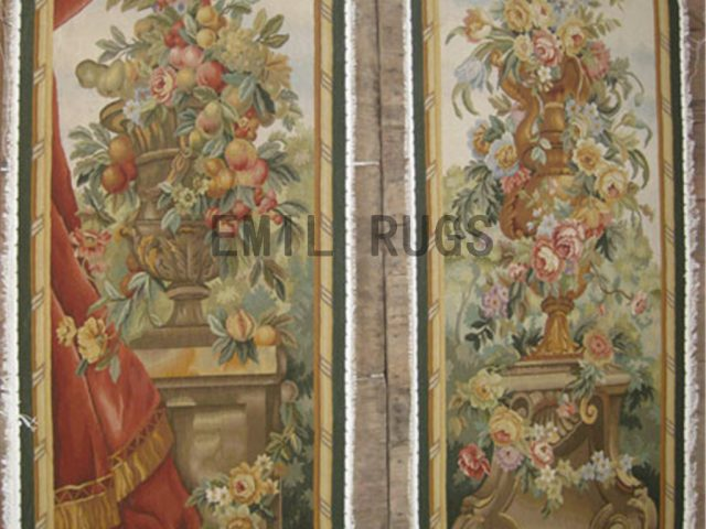 wool antique handmade aubusson gobelin 2.2' X 6.2'  tapestries wall hangings