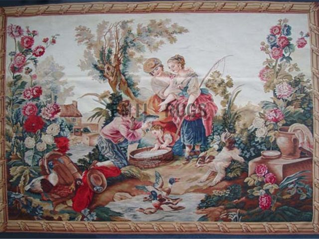 wool antique flat weave aubusson gobelin 5.1' X 7.1' tapestry wall hangings