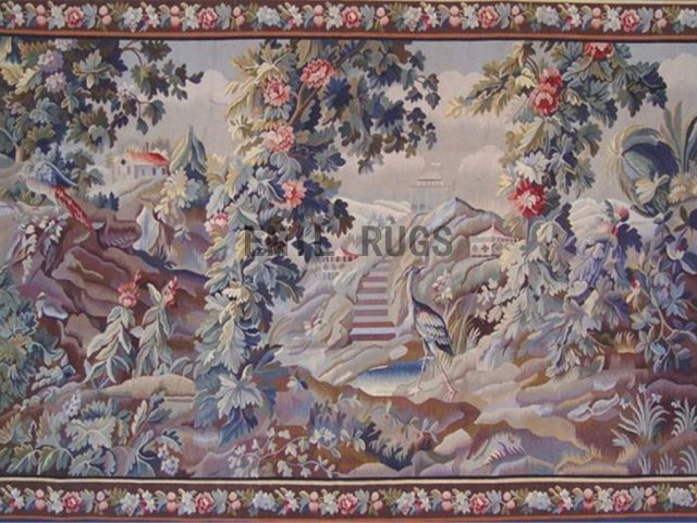 wool antique authentic aubusson gobelin 5.2' X 8' art tapestries