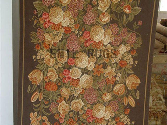wool antique flat weave aubusson gobelin 5' X 6' art tapestry