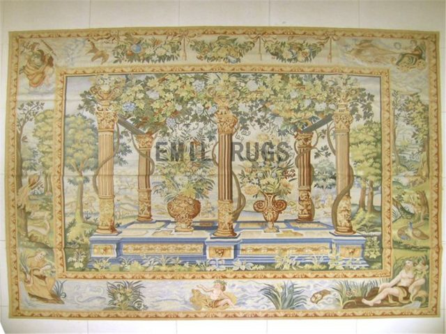 wool vintage hand woven aubusson gobelin 7' X 8' tapestries wall hangings