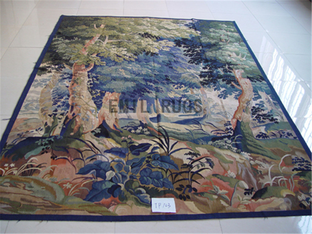 wool vintage flat weave aubusson gobelin 8.5' X 6.2' tapestry wall hangings