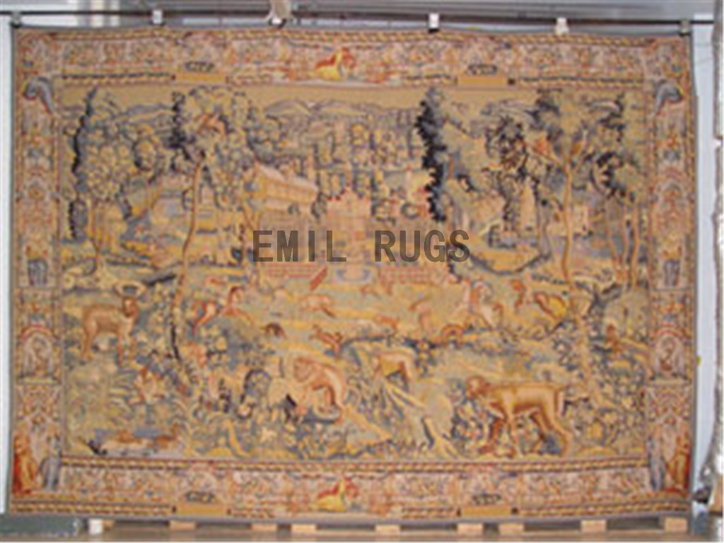 wool vintage authentic aubusson gobelin 9' X 13' wall tapestries