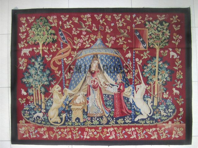 wool antique european french aubusson gobelin 4.2' X 4.6' art tapestry