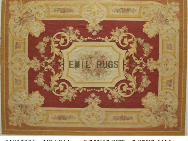 flat weave aubusson carpet 9' X 12' Red Field Ivory Border authentic 100% New Zealand wool french