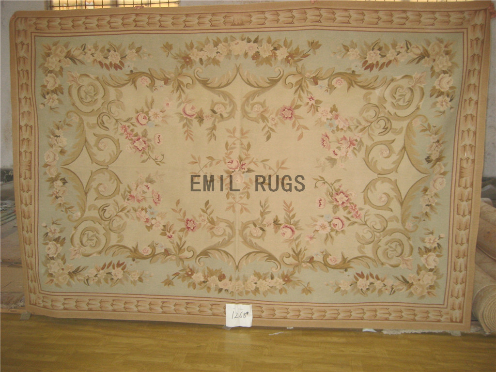 flat weave aubusson carpet 6' X 9' Ivory Field Green Border authentic 100% New Zealand wool french