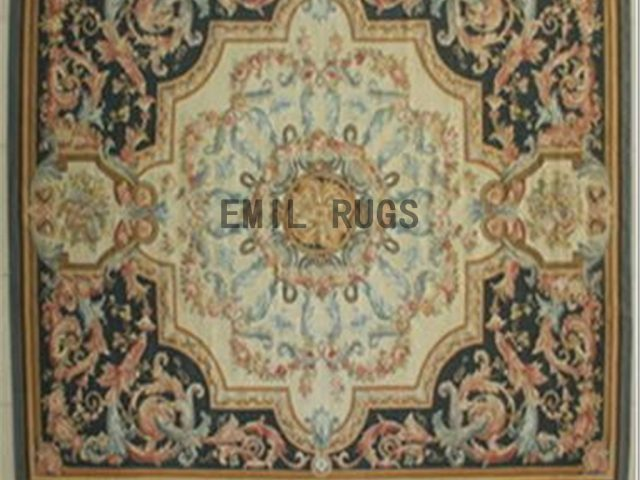 flat weave aubusson carpet 9' X 12' Ivory Field Black Border authentic 100% New Zealand wool french