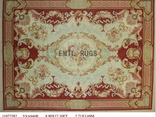 flat weave aubusson carpet 9' X 12' Red Field Pink Border 100% New Zealand wool hand woven