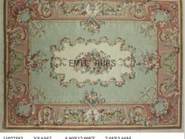 flat weave aubusson rugs 9' X 12' Green Field Pink Border 100% New Zealand wool hand woven