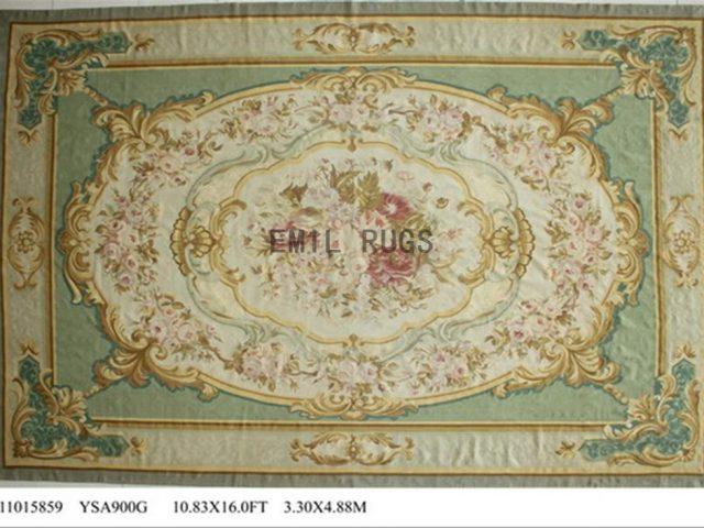 flat weave aubusson rug Oversized 10.8' X 16' Ivory Field Ivory Border 100% New Zealand wool european handmade
