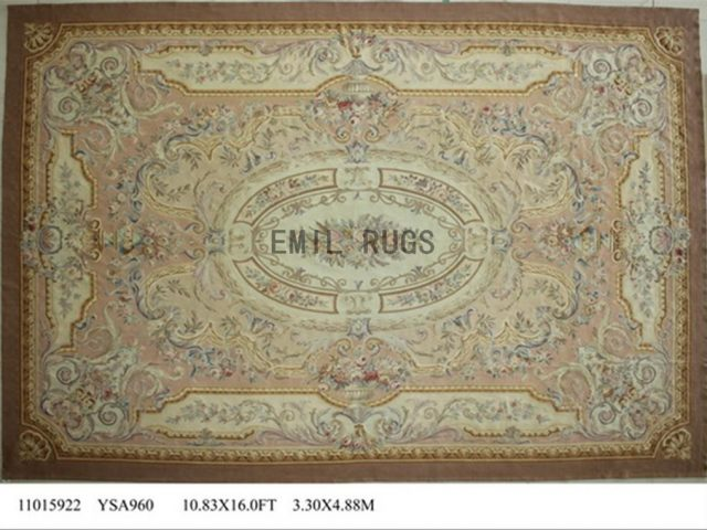 flat weave aubusson carpets Oversized 10.8' X 16' Ivory Field Ivory Border 100% New Zealand wool european handmade