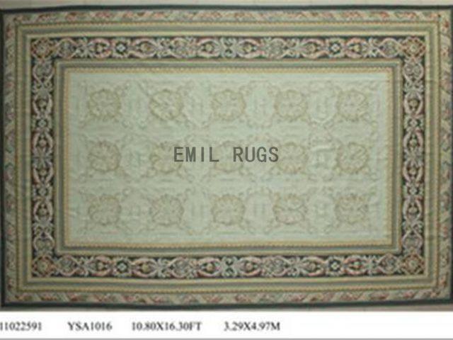 flat weave aubusson rugs Oversized 10.8' X 16' Ivory Field Blue Border 100% New Zealand wool hand woven