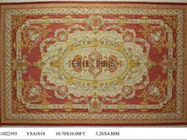 flat weave aubusson rug Oversized 10.8' X 16' Red Field Ivory Border 100% New Zealand wool european handmade