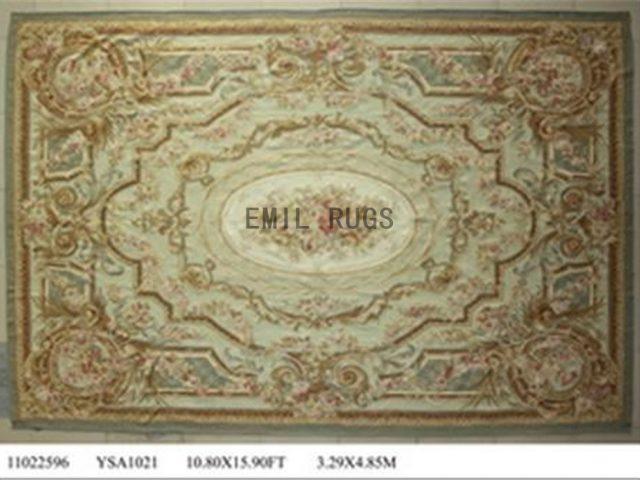 flat weave aubusson rug Oversized 10.8' X 16' Ivory Field Ivory Border 100% New Zealand wool hand woven