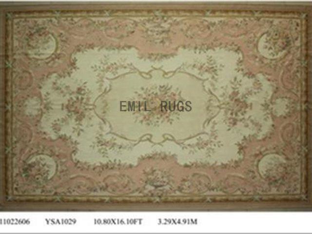 flat weave aubusson rugs Oversized 10.8' X 16' Ivory Field Pink Border 100% New Zealand wool european handmade
