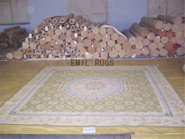 flat weave aubusson carpets Square 10' X 10' Green Field Ivory Border authentic 100% New Zealand wool french