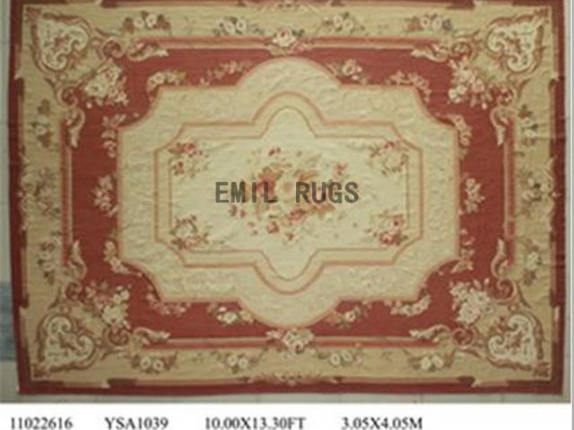 flat weave aubusson carpets 10' X 13' Red Field Ivory Border 100% New Zealand wool hand woven