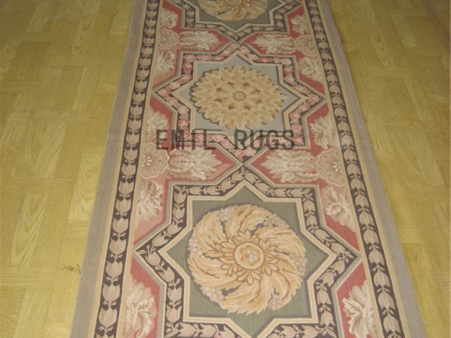 flat weave aubusson carpets Oversized 10' X 14' Pink Field Black Border authentic 100% New Zealand wool french