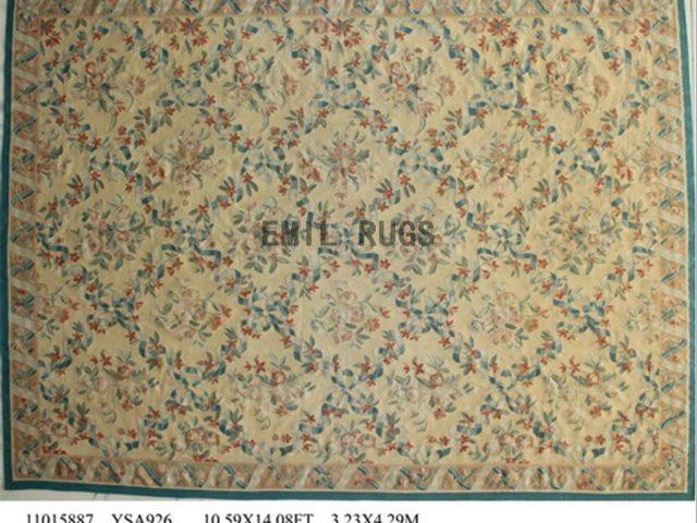 flat weave aubusson carpets Oversized 10' X 14' Yellow Field Yellow Border 100% New Zealand wool european handmade
