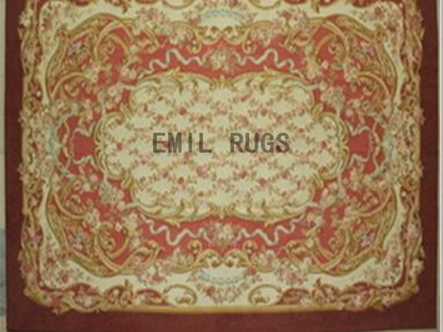 flat weave aubusson carpet Oversized 10' X 14' Red Field Ivory Border 100% New Zealand wool hand woven