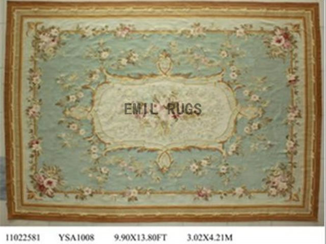flat weave aubusson rugs Oversized 10' X 14' Blue Field Ivory Border 100% New Zealand wool european handmade