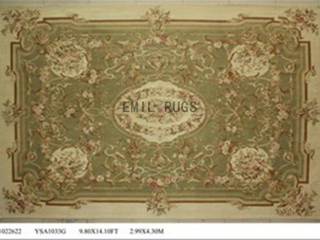 flat weave aubusson rug Oversized 10' X 14' Green Field Ivory Border 100% New Zealand wool european handmade