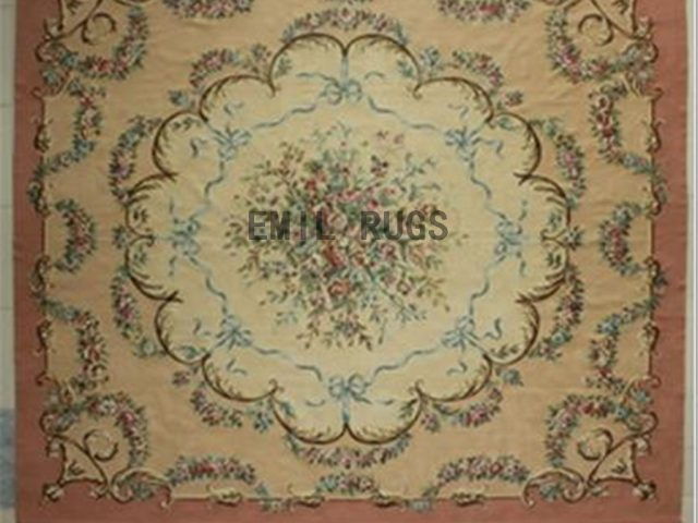 flat weave aubusson carpet Oversized 11.5' X 13' Ivory Field Pink Border authentic 100% New Zealand wool french