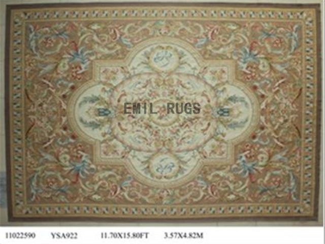 flat weave aubusson carpet Oversized 11.7' X 15' Ivory Field Beige Border 100% New Zealand wool european handmade