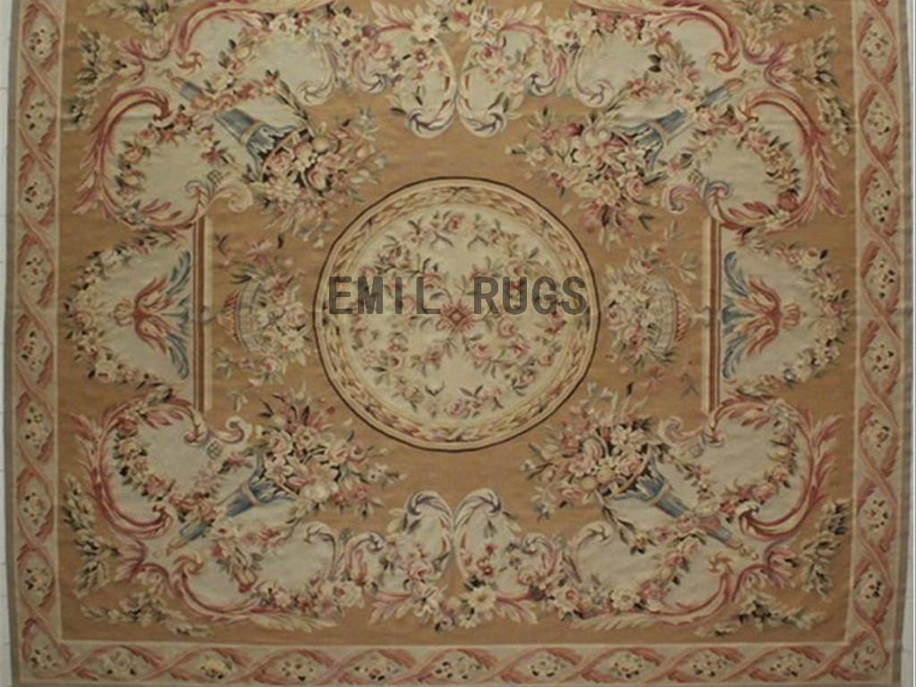 flat weave aubusson rugs Oversized 11.8′ X 14′ Beige Field Beige Border authentic 100% New Zealand wool french