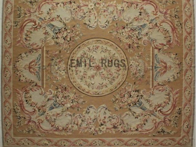 flat weave aubusson rugs Oversized 11.8' X 14' Beige Field Beige Border authentic 100% New Zealand wool french